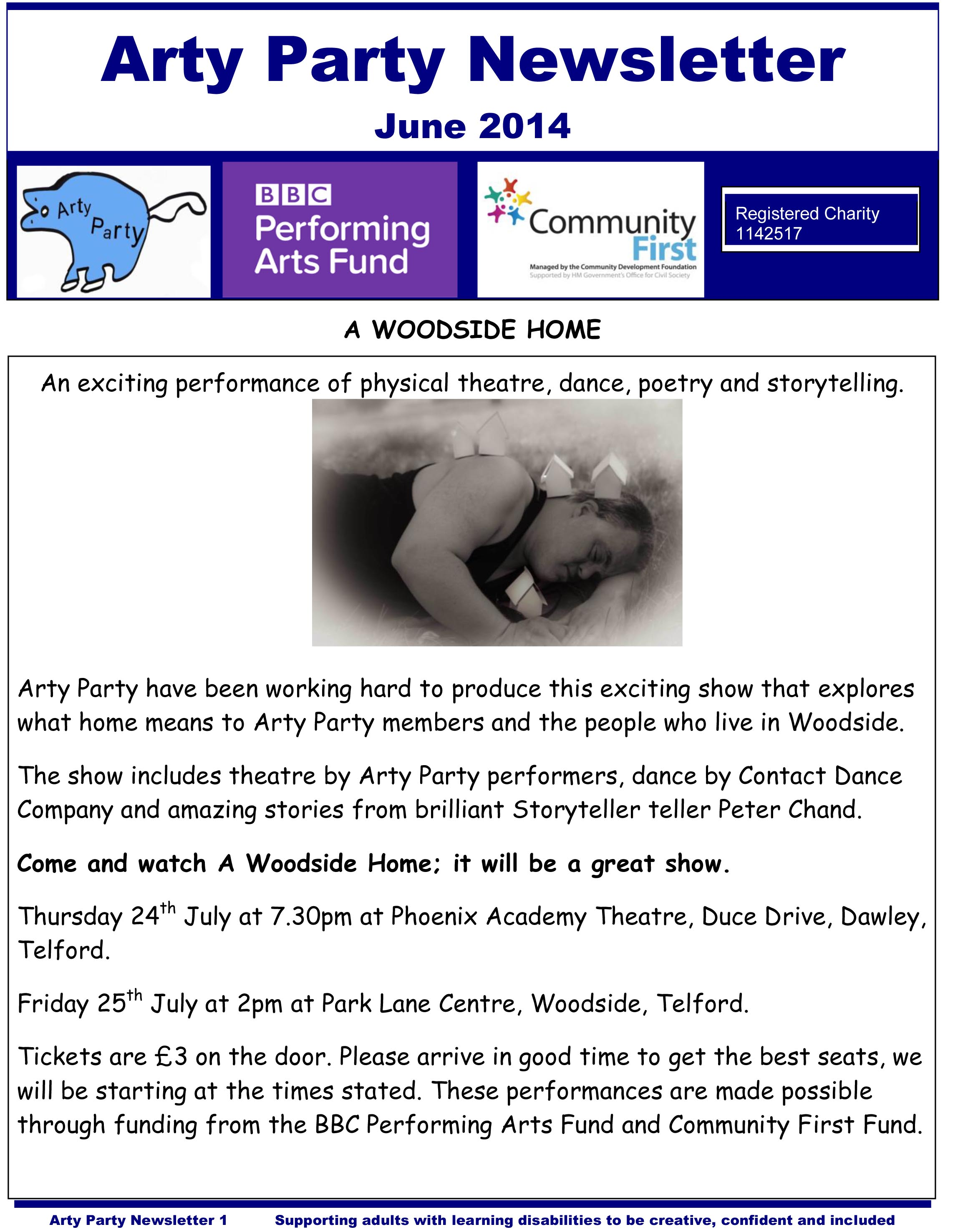 Arty Party Newsletter June 2014 for facebook