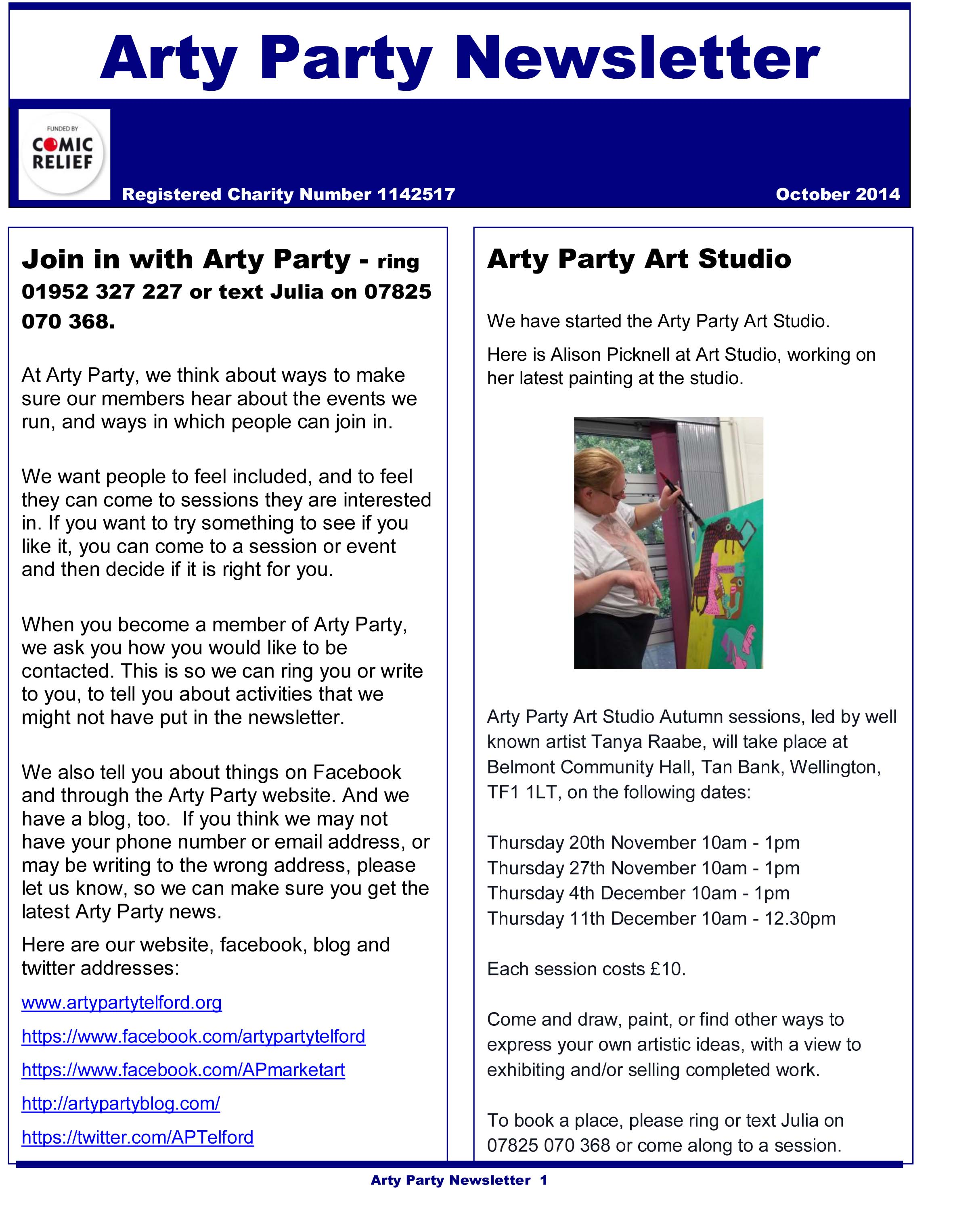 Arty Party Newsletter October 2014 real-1