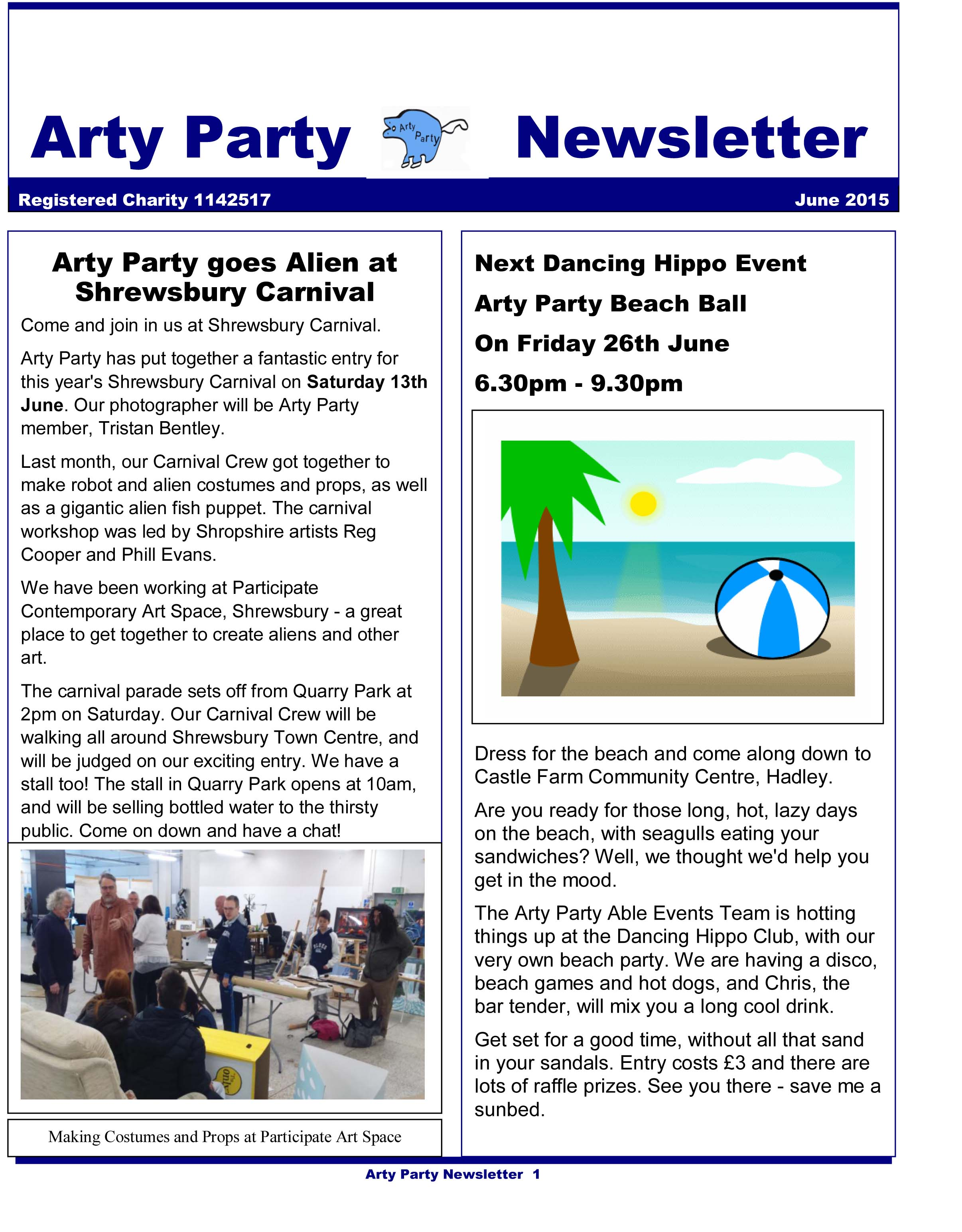 Arty Party Newsletter June 2015
