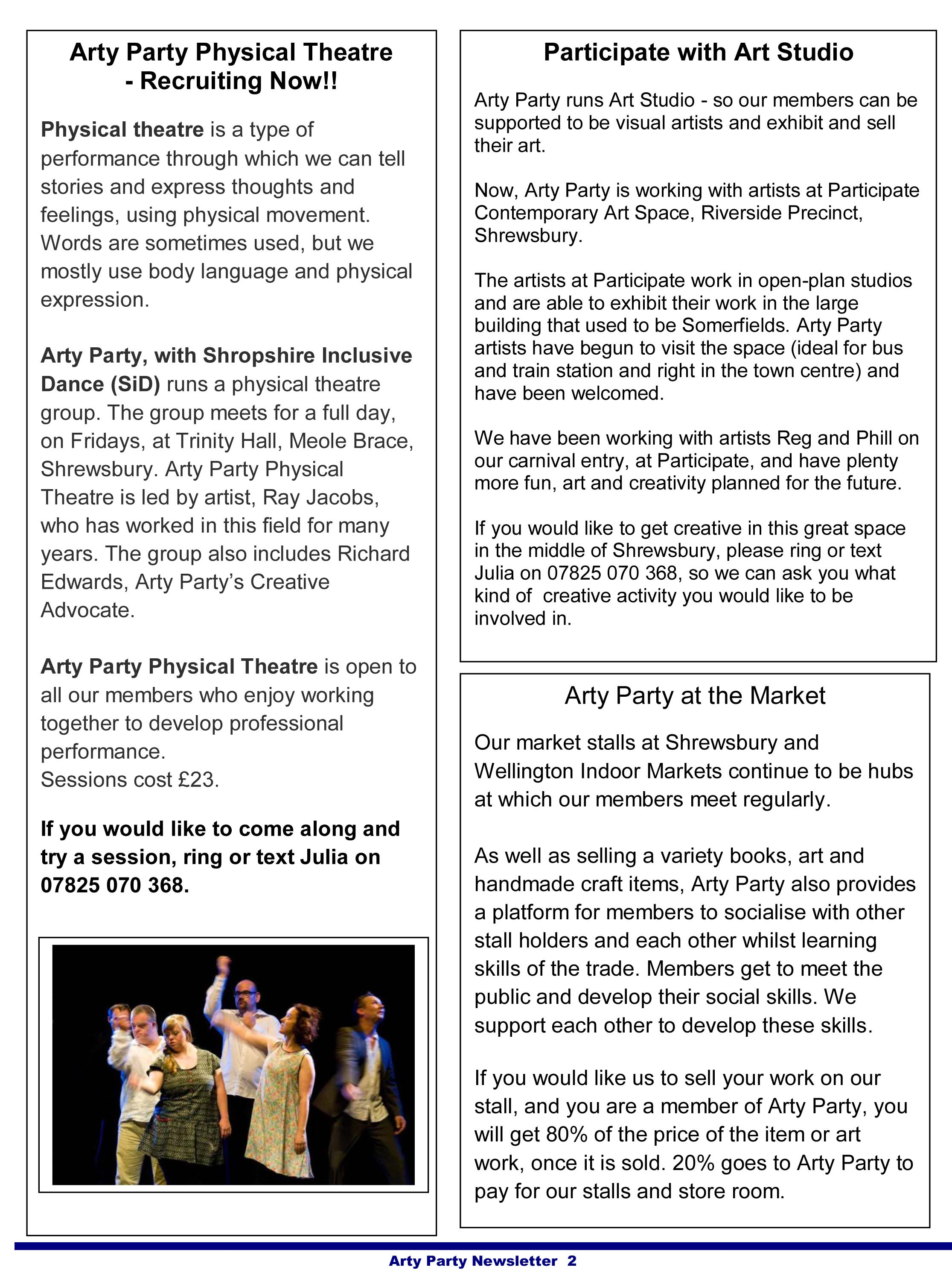 Arty Party Newsletter May 2015-2