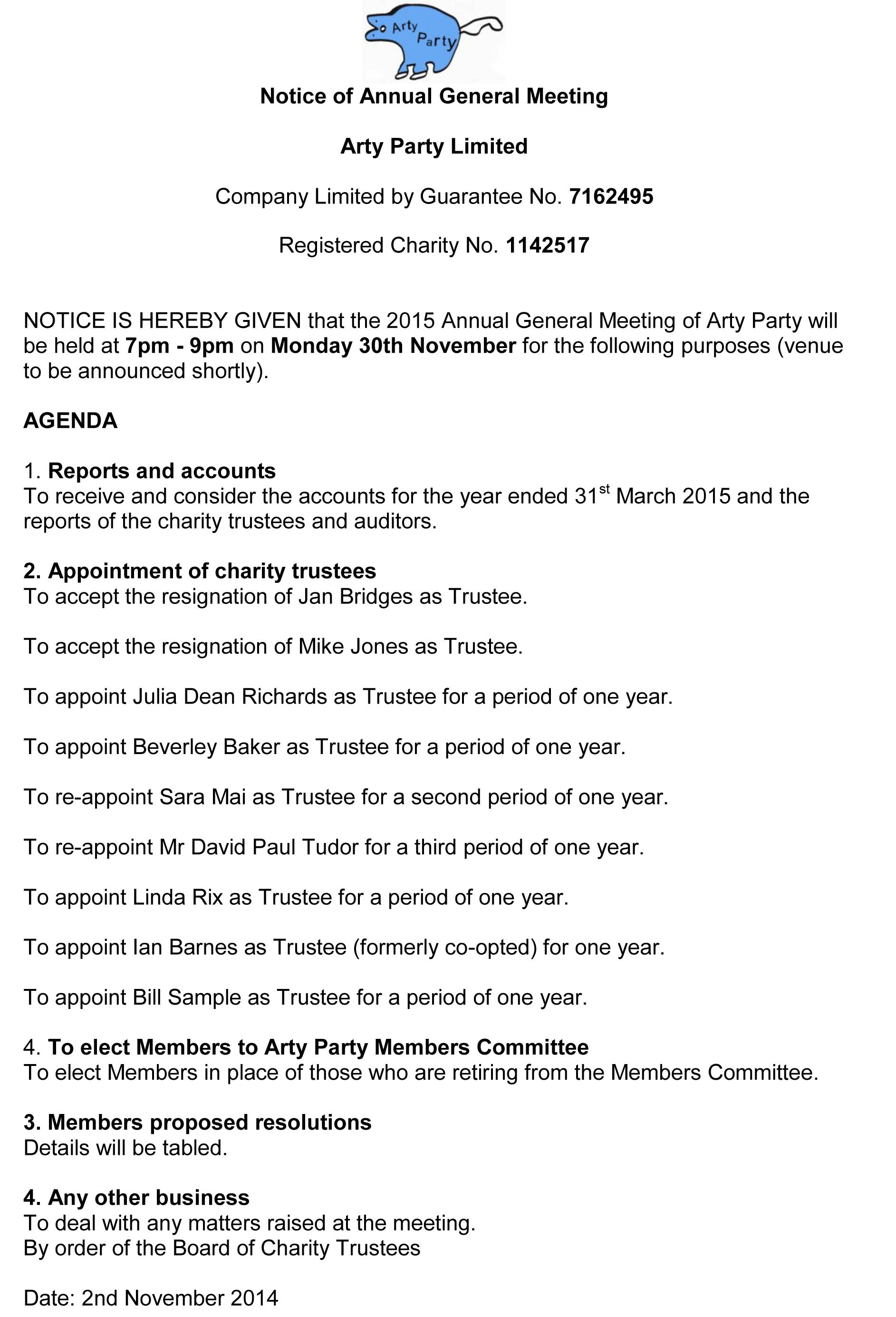 Notice of 2015 Annual General Meeting